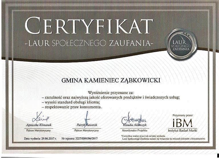 Laur Społecznego Zaufania dla Gminy Kamieniec Ząbkowicki_01