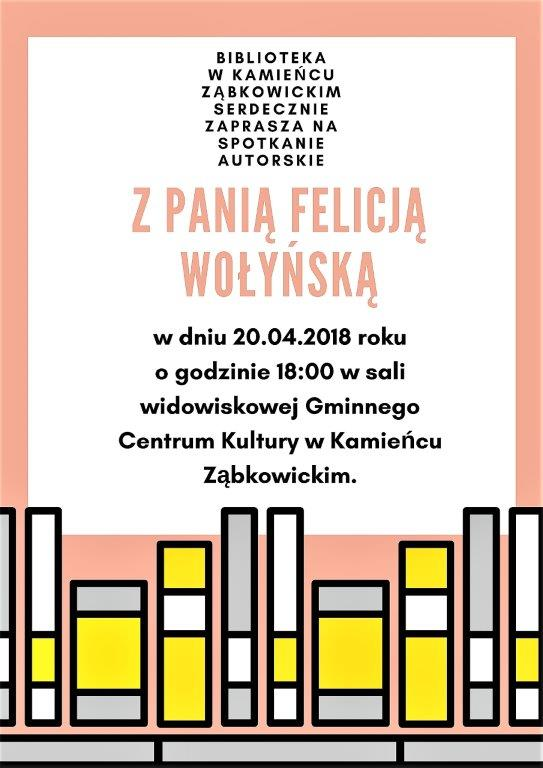 Zaproszenie na spotkanie autorskie z Felicją Wołyńską_01