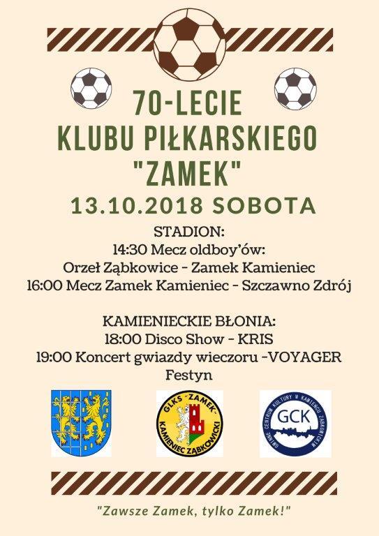 70lecie klubu piłkarskiego ZAMEK zaproszenie_01