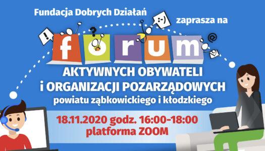 Forum Aktywnych Obywateli i Organizacji Pozarządowych – aktualne zaproszenie