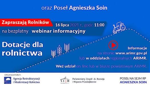 Informacje ważne dla mieszkańców wsi – webinar organizowany przez instytucje branży rolniczej